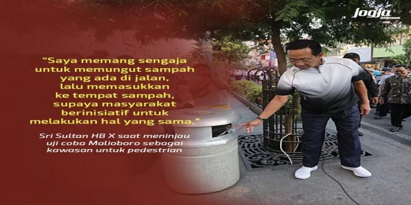 Sri Sultan Hamengkubuwono X Meninjau Pelaksanaan Uji Coba Pedestrian Malioboro