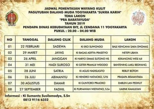 "Jadwal Pementasan Wayang Kulit Paguyuban Dalang Muda Yogyakarta """"Sukra Karih"" Tema Lakon ""Pra Baratayuda"" Tahun 2019"